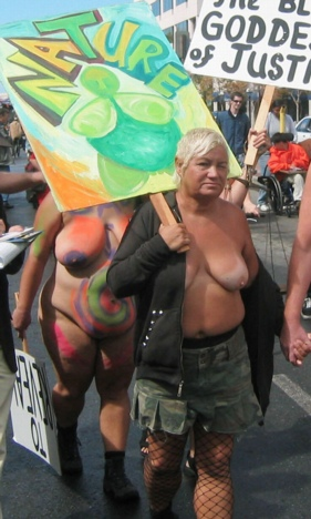 Topless Protester
