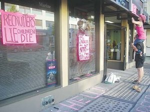 Marine Corps Recruiting Station defaced by CodePINK