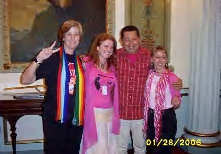 Cindy Sheehan, Jodie Evans, Medea Benjamin, and Hugo Chavez