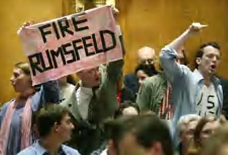 CodePink heckles Rumsfeld