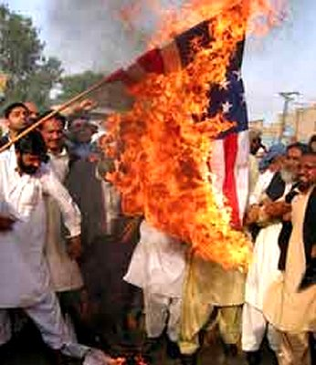 Muslims burning the American Flag