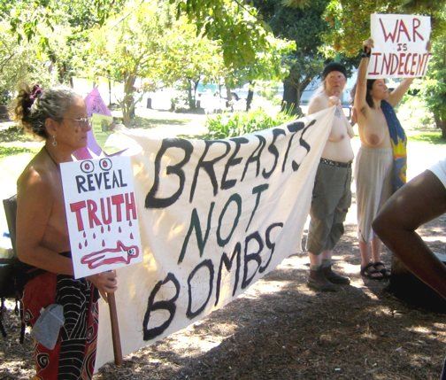 Breasts Not Bombs Protest