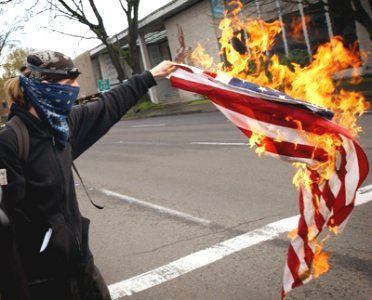 A Liberal burning an American Flag